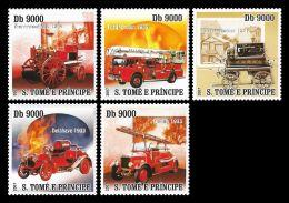Sao Tome Fire Brigade Fire Engine 5v Stamp MNH Michel:3175-3179 - Non Classificati