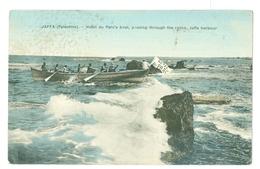 1900's, Palestine, Jaffa Harbour, Hotel Du Parc's Boat. Linen Textured Printed Pc, Unused. - Palestine
