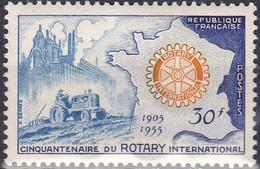 Timbre-poste Gommé Neuf** - Cinquantenaire Du Rotary International - N° 1009 (Yvert) - France 1955 - France