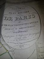 Plan Routier De PARIS - 1836 - 90 X 60cm (salissures Et Ptes Déchirures Sur Bords) - Cartes Routières