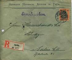 ENV 18  Allemagne - EMPFOHLENER BRIEF- LETTRE RECOMMANDEE   APOLDA In THUR à  BERLIN   21/07/.1906 - 1 Timbre 30 D.R - Deutschland