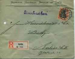 ENV 18  Allemagne - EMPFOHLENER BRIEF- LETTRE RECOMMANDEE   APOLDA In THUR à  BERLIN   07/05/.1906 - 1 Timbre 30 D.R - Deutschland