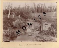 ENVIRONS BAYEUX-GUERON LES BORDS DE L'AURE MAI 1895-PHOTO COLLEE SUR CARTON 23,5x17,5 Cms - Lieux