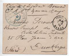 """1918 - ENVELOPPE FM De TANGER (MAROC) Pour DUNKERQUE Avec CACHET """"TROUPES MAROCAINES / DETACHEMENT DE TANGER"""" - Storia Postale"""