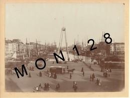 A IDENTIFIER - SAINT MALO ? 1895- LE PORT - PHOTO COLLEE SUR CARTON 23x17 Cms - Places