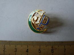 Insigne Décoration Broche Breloque Ancienne J C P Croissant Vert Lettre Tricolore Bleu Blanc Rouge - Army & War