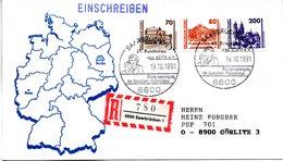 """(Bu-B3) BRD Sonder-Umschlag """"Gesamt-Deutschland"""" MiF Deutsche Post (DDR)+BRD SST 28.9.1991 NEUSTADT B. COBURG1 - BRD"""