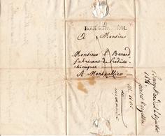 Lettre Avec Correspondance Bourg Saint Andéol 1821 Ardèche Montpellier Hérault Produits Chimiques Bérard & Martin - Marcofilie (Brieven)