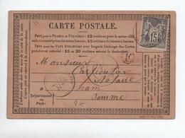 1877 - CARTE PRECURSEUR De CHAULNES (BOITE RURALE E) Pour HAM (SOMME) - Marcophilie (Lettres)