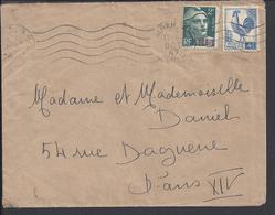 ALGERIE - 1947 - Affranchissement à 6 Fr. Marianne + Coq Sur Enveloppe D'Alger Pour Paris - B/TB - - Algérie (1924-1962)