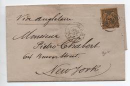 1879 - LETTRE De PARIS Pour NEW YORK Avec SEUL SAGE N° 93 - Marcophilie (Lettres)