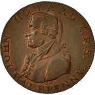 Monnaie, Grande-Bretagne, John Howard, Halfpenny Token, TTB+, Cuivre - 1662-1816 : Anciennes Frappes Fin XVII° - Début XIX° S.