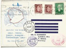 NORUEGA OSLO 1953 VUELO THULE TOKYO KARACHI COPENHAGEN OSLO - Storia Postale