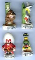 Lot De 4 FÈVES MATE Série Looney Tunes Passent à L'action 2003 - Bugs Bunny Marvin Taz Sam - Cartoons