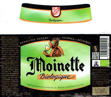 Étiquette Bière Moinette Biologique 75 Cl Alc 7,5 % Vol (2018) + Collier (Brasserie Dupont, Tourpes Belgique) - Bière