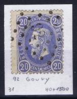 Belgium: OBP 31 Cancel 92 Gouvy - 1869-1883 Léopold II