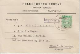 Syrie Lettre Imprimés 1937 Pour La France - Syrie
