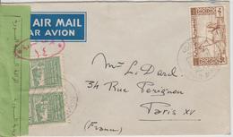 Syrie Lettre Censurée De 1948 Par Avion Pour La France - Syria