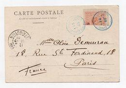 !!! PRIX FIXE : MOITIE DE 20C D'OBOCK N°53 UTILISE EN COTE DES SOMALIS EN 1901 FAUTE DE TIMBRES - Lettres & Documents