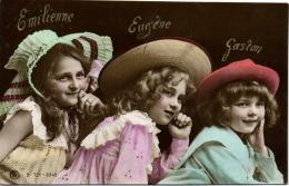 1 Postcard Children Three Girls - Emilienne, Eugene, Gaston - Enfants