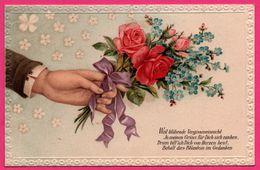 Cpa Gaufrée - Bouquet De Fleurs - Rose - Ruban - JMPORT - 1915 - Oblit. WOLFISHEIM - Blumen