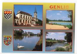CPM 21 GENLIS ( 4 Vues Et Blasons ) - France