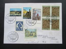 Island Beleg Mit Buntfrankatur Nach Schweden Mit Nr. 349 Und 640 Aus Block 1 Als Nachporto! Seltener Beleg!! - 1944-... Repubblica