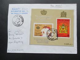 Marokko Luftpostbrief Jubiläumsblock 25. Kronjubiläum König Hassan II. Atlantic Hotel Av. Hassan II Agadir. RRR - Marokko (1956-...)