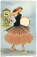 CARTE BRODEE - GRANADA N°20 - Signée ELOI GUMIER - Espagne - Embroidered
