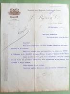 30 ,nimes  ,facture Lettre Société Des Wagons,foudres Du Gard Pujas Et Cie ...1912 .....dim..27 Cm Par 21 Cm... - Nîmes