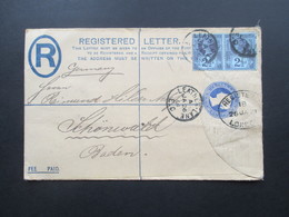 GB Registered Mail Nr. 89 Als Waagerechtes Paar Stempel Leather Lane Nach Schönwald Baden. - Briefe U. Dokumente