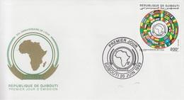 DJIBOUTI ENVELOPPE PREMIER JOUR FDC OUA AFRICAN UNION AFRICAINE FLAGS DRAPEAUX ALGERIA ALGERIE -1993 - RARE - Djibouti (1977-...)
