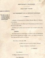 GUERRE De 1870 Decret N°3 Du 14 Octobre 1870  Conseil De Guerre - Decrees & Laws