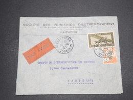 INDOCHINE - Enveloppe Commerciale De Haiphong Par Avion Pour Paris En 1933 - L 16345 - Indochina (1889-1945)