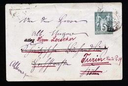 A5434) France Kleine Ganzsache 1887 Nach Turin - 1876-1898 Sage (Type II)