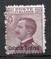 Eritrea 1928  Sovrast. 20 Cent N 123 Nuovo MLH* Sassone 14 Euro; - Eritrea