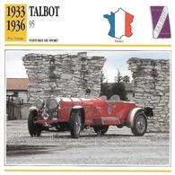 Fiche Editions Atlas Automobile Voitures De Sport Talbot 95 - Voitures