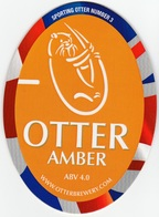 NEW UNUSED OTTER BREWERY (LUPPITT, ENGLAND) - AMBER - SPORTING OTTER No 3 - PUMP CLIP FRONT (2012) - Signs