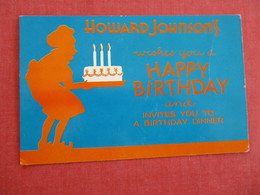 Howard Johnson's Wishes You A Happy Birthday      ---- Ref 2945 - Publicité