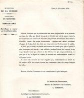GUERRE De 1870 Decret N°14 Du 24 Octobre 1870  Surveillance Militaires Isolés - Decrees & Laws