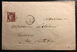 1849 - 1850 Céres N°6 1Fr Carmin Sur Enveloppe Complète Obl Grille De Libourne Très Frais TTB Signé Calves - 1849-1850 Ceres