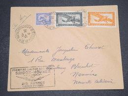 INDOCHINE - Enveloppe  1er Vol De Saigon Pour Nouméa ,période 1940 /50 ,  Affranchissement Varié - L 16358 - Indochina (1889-1945)