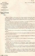 GUERRE De 1870 Decret N°15 Du 24 Octobre 1870  Mouvements Ennemi - Decrees & Laws