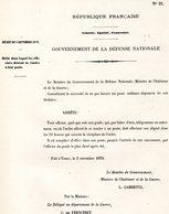 GUERRE De 1870 Decret N°21 Du 3 Novembre 1870 Délai Dans Lequel Les Officiers Doivent Se Rendre à Leur Poste - Decrees & Laws