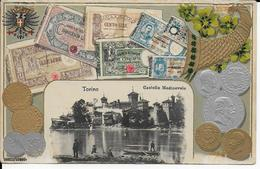 3 Cpa Italie- Torino- Castello Médiévalle Avec Billets Et Monnaies En Relief-Ponte Monumentale Umberto -Valentino- Coste - Italie