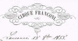 Cirque Franconi Lausanne 1855 Autorisation Pour Mulhouse Héraldique - Documentos Históricos