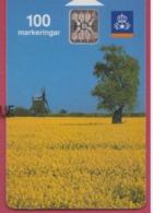 SUEDE--Télécarte 100---pa Bilden-olandskt Landskap--moulin Chip SC5 - Sweden
