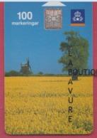SUEDE--Télécarte 100---pa Bilden-olandskt Landskap--moulin Chip SC7 - Sweden