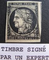 LOT R1749/38 - CERES N°3 ☛☛☛ Timbre Signé Par Un Expert - GRILLE NOIRE - 1 VOISIN - Cote : 65,00 € - 1849-1850 Ceres