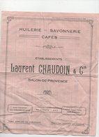 Salon De Provence (13 Bouches Du Rhône) Tarif CHAUDOIN (huilerie Savonnerie Cafés) 1924 (PPP8601) - Pubblicitari